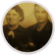 Parents Wedding 1940 Round Beach Towel