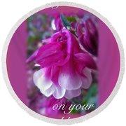 Wedding Blessings Greeting Card - Columbine Blossom Round Beach Towel