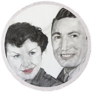 Wedding Day 1954 Round Beach Towel