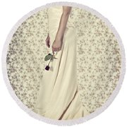 Wedding Dress Round Beach Towel by Joana Kruse