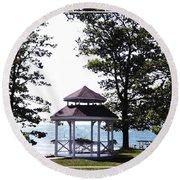 Wedding Gazebo By Lake Erie At Evangola State Park Round Beach Towel