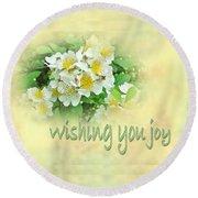 Wedding Wishing You Joy Greeting Card - Wildflower Multiflora Roses Round Beach Towel