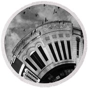 Wee Bryan Texas Detail In Black And White Round Beach Towel