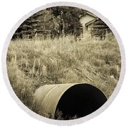 Weeds 2 Round Beach Towel