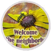 Welcome New Neighbor Card - Bee And Black-eyed Susan Round Beach Towel