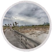 Welcome To Bald Head Island Round Beach Towel