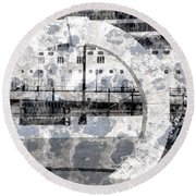 Welcome To The Moon Round Beach Towel