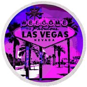 Welcome To Vegas No.2 Round Beach Towel