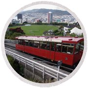 Tram Car Viewpoint - Wellington, New Zealand Round Beach Towel