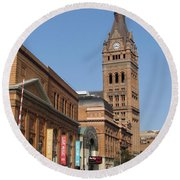 Wells Street Theater District And City Hall Round Beach Towel
