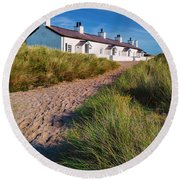 Welsh Cottages Round Beach Towel by Adrian Evans