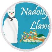 Welsh Snowman Chef Round Beach Towel