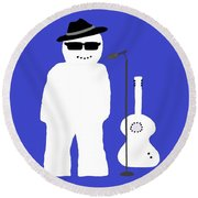 Welsh Snowman Musician Round Beach Towel