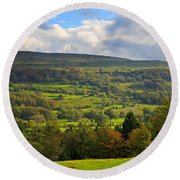Wensleydale Near Westholme Bank In The Yorkshire Dales Round Beach Towel