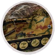 Wespe 105 Mm Self-propelled Gun Round Beach Towel