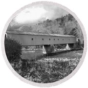 West Cornwall Connecticut Covered Bridge Black And White Round Beach Towel