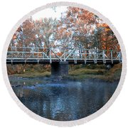 West Valley Green Road Bridge Along The Wissahickon Creek Round Beach Towel by Bill Cannon