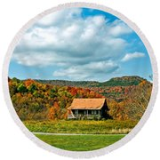 West Virginia Homestead Round Beach Towel