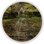 West Virginia Waterfall Round Beach Towel