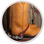 Western Boots And Spurs Round Beach Towel