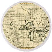 Western Canada And The Five Great Lakes Round Beach Towel