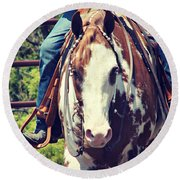 Western Paint Horse Round Beach Towel