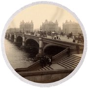 Westminster Bridge - London - C 1887 Round Beach Towel