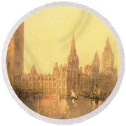 Westminster Houses Of Parliament Round Beach Towel