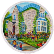Westmount Birthday Party-montreal Urban Scene-little Girls Playing Round Beach Towel