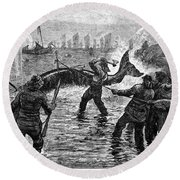 Whaling At Shore, 1875 Round Beach Towel