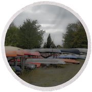 What Do Canoes Dream Of Round Beach Towel