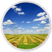 Wheat Farm Field At Harvest Round Beach Towel