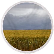 Wheat Field And Storm Round Beach Towel