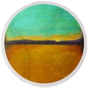 Wheat Field At Sunset Round Beach Towel