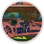 Wheels Of An Old Vintage Train Engine No.1026 Round Beach Towel