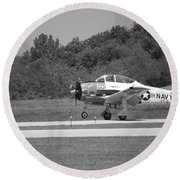 Wheels Up Black And White Round Beach Towel