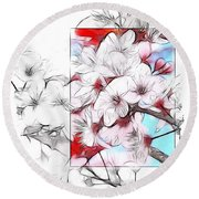 When The Almond Trees Are In Blossom  Round Beach Towel