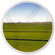 Where The Grass Is Growing Round Beach Towel