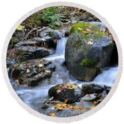 Whisketown Stream In Autumn Round Beach Towel