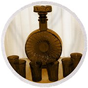 Whiskey Decanter In Sepia Round Beach Towel