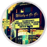 Whisky A Go Go Bar On Sunset Boulevard Round Beach Towel