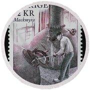 Whisky Postage Stamp Print Round Beach Towel