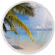 Whispering Palm On The Tropical Beach Round Beach Towel