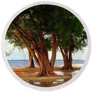 Whispering Trees Of Sanibel Round Beach Towel by Karen Wiles