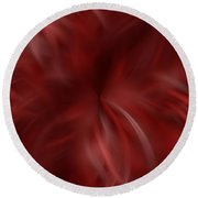 Whispy Red And White Round Beach Towel