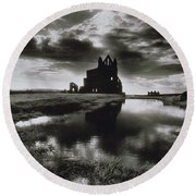 Whitby Abbey Round Beach Towel by Simon Marsden