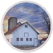 White Barn Sunrise Round Beach Towel