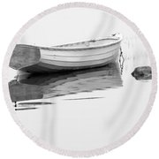 White Boat Anchored On A Foggy Morning In Maine Round Beach Towel