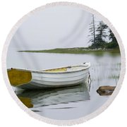 White Boat On A Misty Morning Round Beach Towel