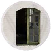 White Brick And Broken Window Round Beach Towel